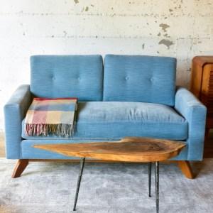 Blue velvet sofa in living room with decor