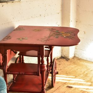 Vintage hand painted bar cart