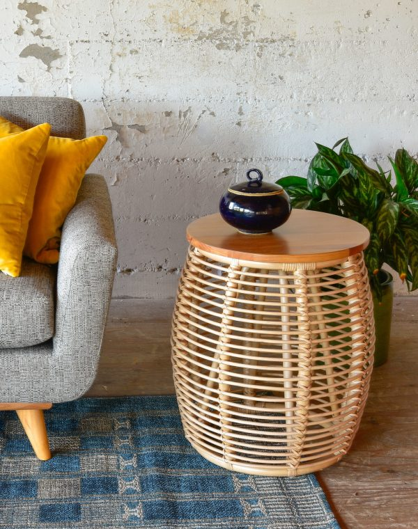 Rattan side table in living room