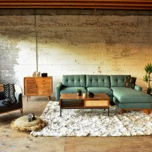 Sofa and coffee table in living room with decor