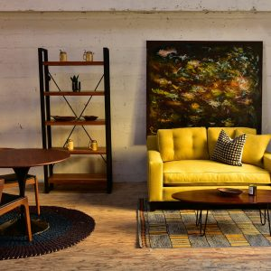 Yellow sofa in living room with decor