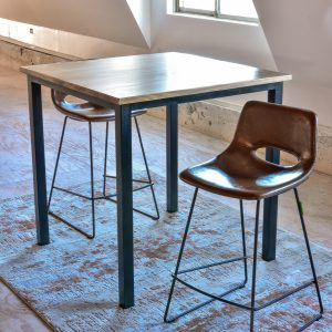 Leather dining stools and table