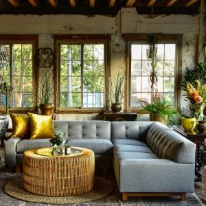 grey sectional sofa in a living room with decor and plants