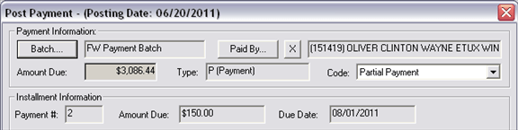Installment Agreement, Opening, Posting Payment, 001