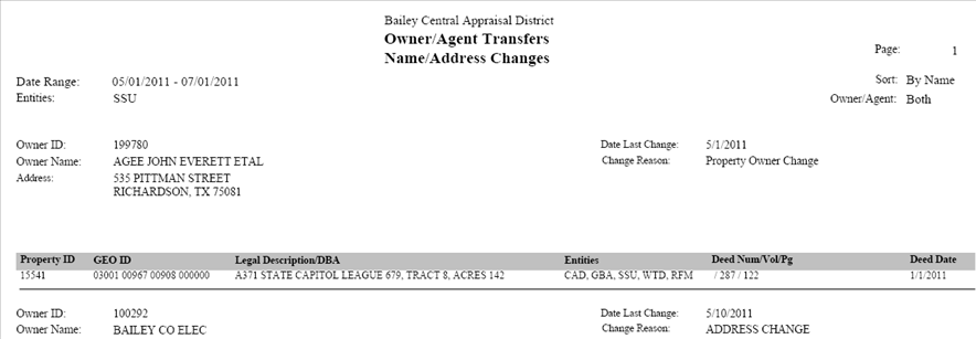 Owner Agent Transfer Name Address Changes report, 001