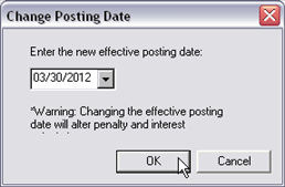 Payment Processing, Change Posting Date, 01