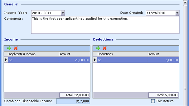 Exemption Processing, Processing Multiple, Income data, 9033x