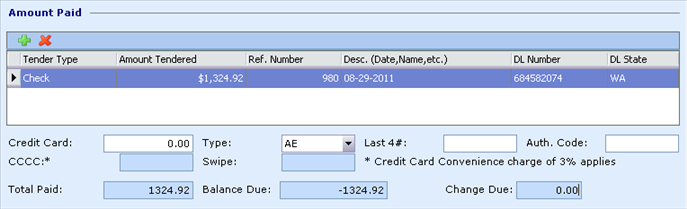 Quick Post Single Payment Multi-Tender dialog, Box Amount Paid, 3