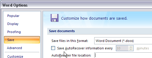 Word autorecover off