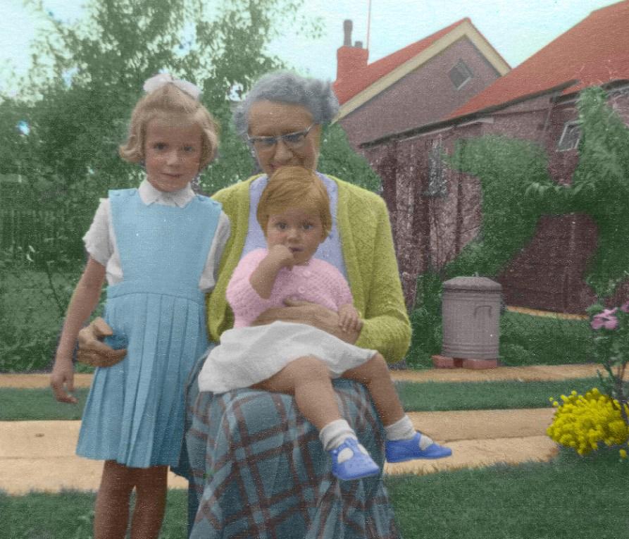 Hand coloured family photo