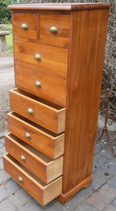 SOLD Tall Narrow Beech Wood Chest Of Drawers