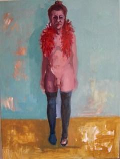 'Métamorphose - Découvrant le Travesti 2' by M. Harrison-Priestman - oil on linen, 80 x 60 cm, 2016.