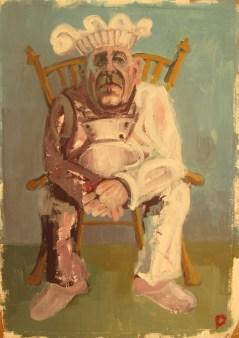 'Le Chef no:3' by M. Harrison-Priestman - acrylic on gesso, 45 x 35 cm, 2017.