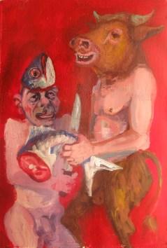'Minotaure et Poisson no:3' by M. Harrison-Priestman - acrylic on gesso, 50 x 40 cm, 2016