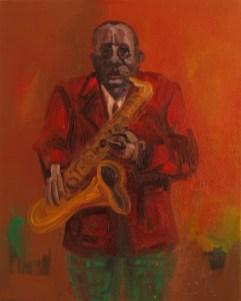 'Série Jazz- Le Saxophoniste no: 3' by M. Harrison-Priestman - 50 x 40 cm, oil on linen, 2017.