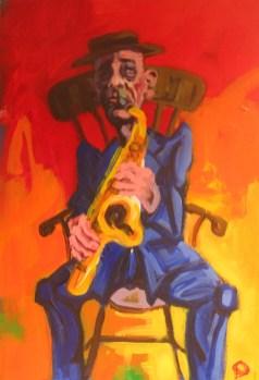 'Série Jazz- Le Saxophoniste no:1' by M. Harrison-Priestman - acrylic on gesso, 45 x 35 cm, 2016.
