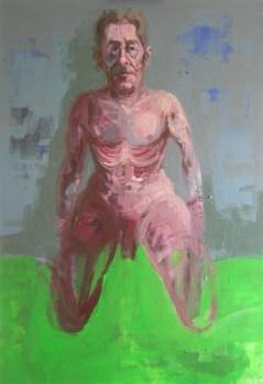 'Nain dans un Champ' by M. Harrison-Priestman - work in progress, acrylic on linen, 80 x 55 cm, 2018.