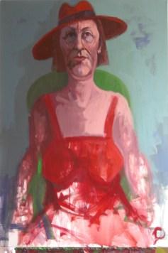 'Femme au chapeau rouge' by M. Harrison-Priestman - acrylic on linen, 80 x 55 cm, 2018.