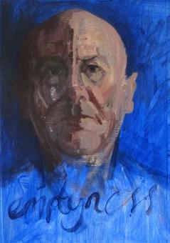 'Le Vide Bleu' by M. Harrison-Priestman - acrylic on gesso, 44 x 33 cm, 2018.