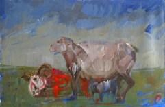 'Étude pour la décapitation des Moutons' by M. Harrison-Priestman - acrylic on gesso, 40 x 50 cm, 2018.