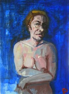 'Étude des femmes bleues' by M. Harrison-Priestman - acrylic on ply, 42 x 30 cm, 2018.
