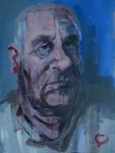 'Portrait d'un vieil homme' by M. Harrison-Priestman - acrylic on pumice ground, 40 x 26 cm, 2018.