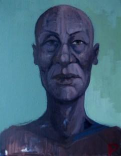 'Femme à tête rasée' by M. Harrison-Priestman - acrylic on linen, 45 x 35 cm, 2019.