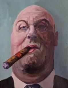 'Le milliardaire fumeur de cigares no:5' by M. Harrison-Priestman - oil on linen, 45 x 35 cm, 2019.