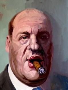 'Le milliardaire fumeur de cigares no:3' by M. Harrison-Priestman - oil on linen, 45 x 35 cm, 2019.