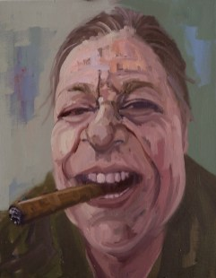 'Shelly Fumer Un Cigare' by M. Harrison-Priestman - oil on linen, 45 x 35 cm, 2109.