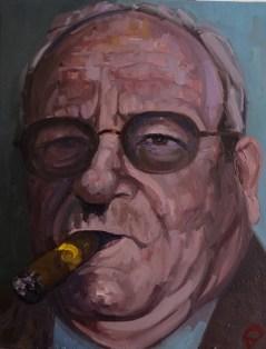 ''Le milliardaire fumeur de cigares no:9 - Série de cigares' by M. Harrison-Priestman - oil on linen, 45 x 35 cm, 2019.