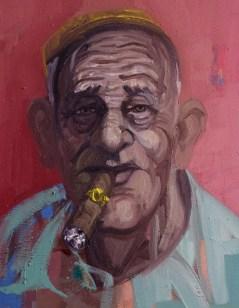 'Le Cubain no:8 - Série de cigares' by M. Harrison-Priestman - oil on linen, 45 x 35 cm, 2019.
