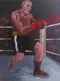 'Le Boxeur no:8' by M. Harrison-Priestman - oil on linen, 80 x 60 cm, 2019.