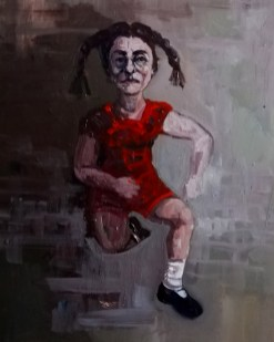 'Istanbul Enfants De La Rue no:4' work in progress, by painter M. Harrison-Priestman - acrylic on linen, 50 x 35 cm, 2019