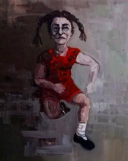 'Istanbul Enfants De La Rue no:4' work in progress, by painter M. Harrison-Priestman - acrylic on linen, 50 x 35 cm, 2019