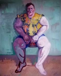 'Le gros garçon de Peckham no:4' - the Fat Boy of Peckham series - work in progress - by M. Harrison-Priestman - oil on linen, 150 x 100 cm, 2016-2020.