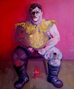 'Le gros garçon de Peckham no:3' work in progress - by M. Harrison-Priestman - oil on linen, 60 x 50 cm, 2016-2020.