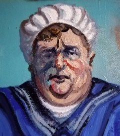 Close up of 'Le gros garçon de Peckham no:5' - the Fat Boy of Peckham series - work in progress - by M. Harrison-Priestman - oil on linen, 60 x 50 cm, 2016-2020.