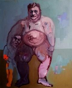 'Le gros garçon et le nain no:2' - the Fat Boy of Peckham and dwarf series - by M. Harrison-Priestman - oil on linen, 60 x t0 cm, 2016-2020.