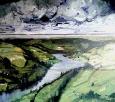 'Jour venteux no:2- Yorkshire Dales' part of 'This Green and Pleasant Land' series by M. Harrison-Priestman - acrylic on linen, triptych - each panel 40 x 100 cm - complete 120 x 100 cm, 2020.