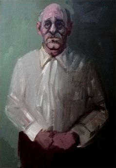 'Vieil homme' by M. Harrison-Priestman - acrylic on canvas, 50 x 35 cm, 2020.