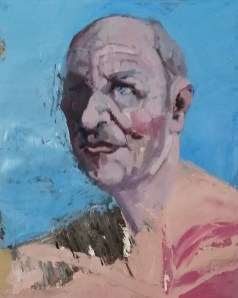 'Portrait déconstruit' by M. Harrison-Priestman - acrylic on stretched paper with a pumice and yellow ochre ground, 50 x 40 cm, 2020.