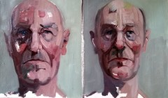 'Deux visages d'Alzheimer' by M. Harrison-Priestman - oil on linen, 30 x 50 cm, 2020.