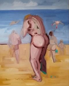 'Homme qui se noie' by M. Harrison-Priestman - oil on linen, 80 x 50 cm, 2020.