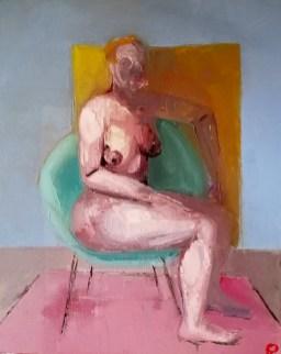 'Chaise femme verte' by M. Harrison-Priestman - oil on linen, 50 x 40 cm, 2020.