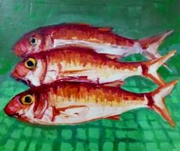 'Poisson rouget'-Akyaka-Turkey series' by M. Harrison-Priestman - acrylic on ply, 28 x 36 cm, 2020.