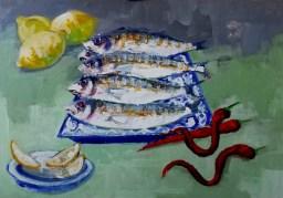 'Sardines sur une assiette bleue' by M. Harrison - acrylic on ply, 40 x 50 cm, 2020.