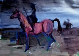 'Étude rapid pour Don Quichotte' by M. Harrison-Priestman - acrylic on gesso, 21 x 32 cm, 2020.