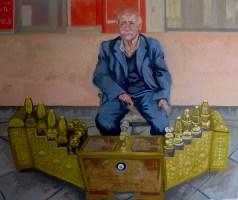 'L'homme de Chaussures - Portre de Kadıköy Şehabettin' by M. Harrison-Priestman - oil on linen, 100 x 120 cm, 2014.