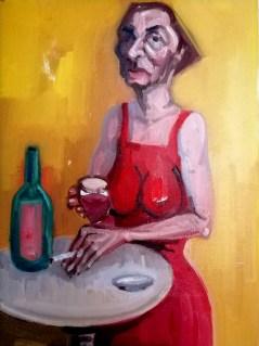 'Buveur de vin rouge - Série alcholique' by M. Harrison-Priestman - oil on linen, 40 x 30 cm, 2020.